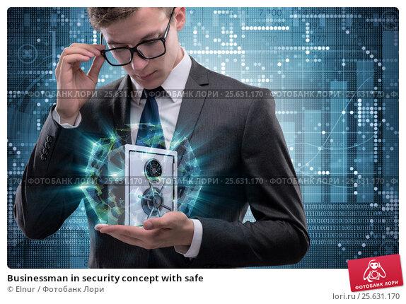 Купить «Businessman in security concept with safe», фото № 25631170, снято 18 апреля 2019 г. (c) Elnur / Фотобанк Лори