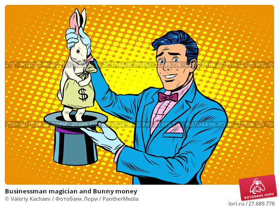 Купить «Businessman magician and Bunny money», фото № 27689778, снято 13 февраля 2019 г. (c) PantherMedia / Фотобанк Лори