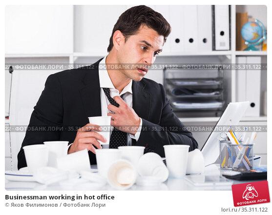 Businessman working in hot office. Стоковое фото, фотограф Яков Филимонов / Фотобанк Лори