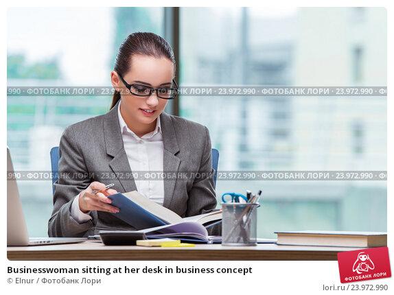 Купить «Businesswoman sitting at her desk in business concept», фото № 23972990, снято 15 августа 2016 г. (c) Elnur / Фотобанк Лори