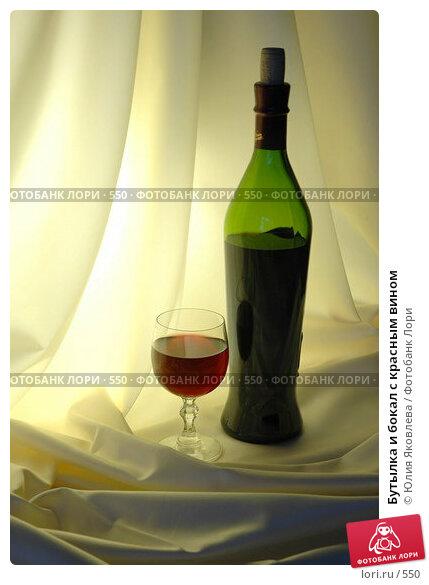 Купить «Бутылка и бокал с красным вином», фото № 550, снято 14 февраля 2005 г. (c) Юлия Яковлева / Фотобанк Лори