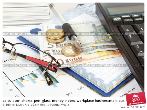 calculator, charts, pen, glass, money, notes, workplace businessman, business . Стоковое фото, фотограф Zdeněk Malý / PantherMedia / Фотобанк Лори