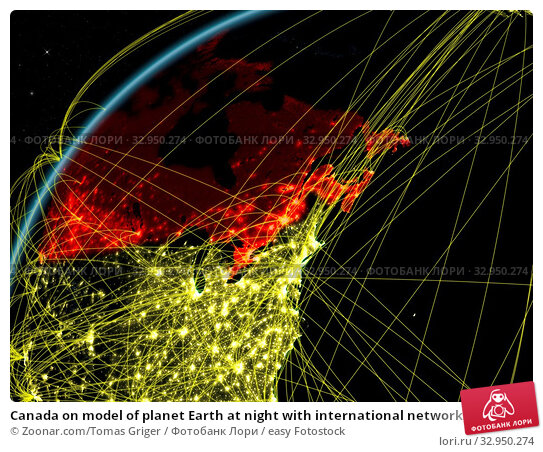 Canada on model of planet Earth at night with international networks. Concept of digital communication and technology. 3D illustration. Elements of this image furnished by NASA. Стоковое фото, фотограф Zoonar.com/Tomas Griger / easy Fotostock / Фотобанк Лори