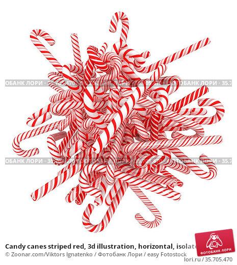 Candy canes striped red, 3d illustration, horizontal, isolated, over... Стоковое фото, фотограф Zoonar.com/Viktors Ignatenko / easy Fotostock / Фотобанк Лори