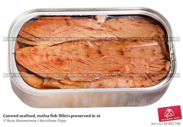 Canned seafood, melva fish fillets preserved in oi. Стоковое фото, фотограф Яков Филимонов / Фотобанк Лори