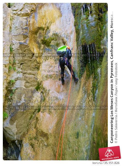 Canyoneering Los Meses Canyon in Pyrenees, Canfranc Valley, Huesca... Стоковое фото, фотограф Pedro Salaverría / easy Fotostock / Фотобанк Лори