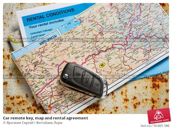Car remote key, map and rental agreement. Стоковое фото, фотограф Ярочкин Сергей / Фотобанк Лори