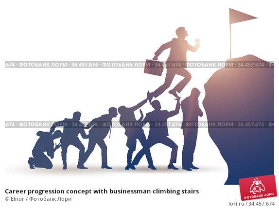 Career progression concept with businessman climbing stairs. Стоковое фото, фотограф Elnur / Фотобанк Лори
