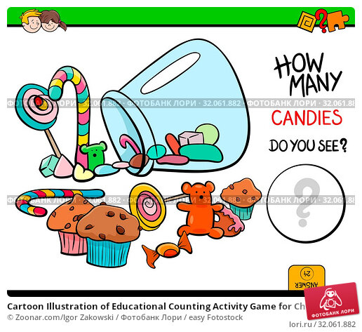 Cartoon Illustration of Educational Counting Activity Game for Children with Candies. Стоковое фото, фотограф Zoonar.com/Igor Zakowski / easy Fotostock / Фотобанк Лори