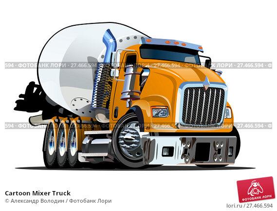 Купить «Cartoon Mixer Truck», иллюстрация № 27466594 (c) Александр Володин / Фотобанк Лори