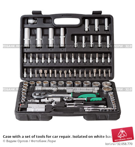 Case with a set of tools for car repair. Isolated on white background. Стоковое фото, фотограф Вадим Орлов / Фотобанк Лори