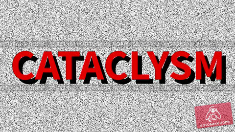 Cataclysm. Word about problem on noisy old screen. Looping VHS interference. Vintage animated background. 4K video footage. Стоковая анимация, видеограф Dmitry Domashenko / Фотобанк Лори