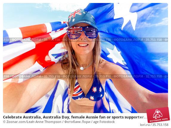 Celebrate Australia, Australia Day, female Aussie fan or sports supporter... Стоковое фото, фотограф Zoonar.com/Leah-Anne Thompson / age Fotostock / Фотобанк Лори