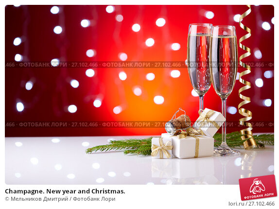 Купить «Champagne. New year and Christmas.», фото № 27102466, снято 25 июля 2016 г. (c) Мельников Дмитрий / Фотобанк Лори