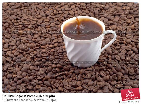 Купить «Чашка кофе и кофейные зерна», фото № 242102, снято 24 апреля 2018 г. (c) Cветлана Гладкова / Фотобанк Лори