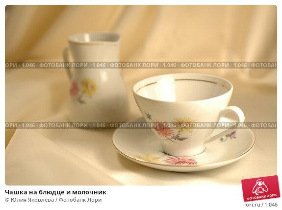 Чашка на блюдце и молочник, фото № 1046, снято 7 марта 2006 г. (c) Юлия Яковлева / Фотобанк Лори