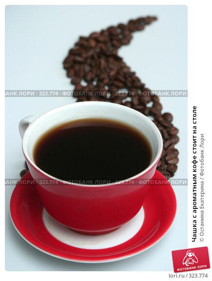 Чашка с ароматным кофе стоит на столе, фото № 323774, снято 26 апреля 2008 г. (c) Останина Екатерина / Фотобанк Лори