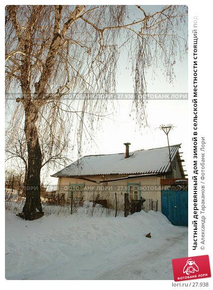Частный деревянный дом зимой в сельской местности стоящий под деревом, фото № 27938, снято 4 февраля 2007 г. (c) Александр Тараканов / Фотобанк Лори