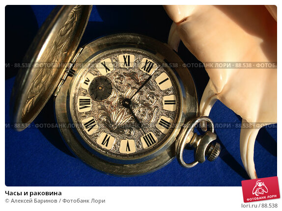 Часы и раковина, фото № 88538, снято 26 сентября 2007 г. (c) Алексей Баринов / Фотобанк Лори