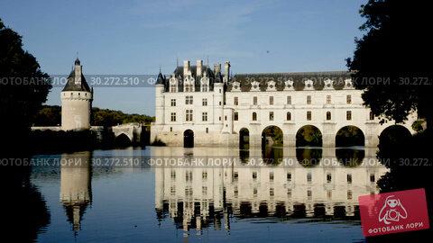 Купить «Chateau de Chenonceau in valley of River Cher, Chenonceaux, France», видеоролик № 30272510, снято 8 октября 2018 г. (c) Яков Филимонов / Фотобанк Лори