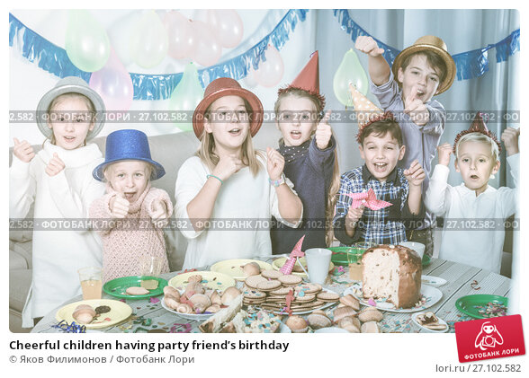 Купить «Cheerful children having party friend's birthday», фото № 27102582, снято 20 ноября 2017 г. (c) Яков Филимонов / Фотобанк Лори