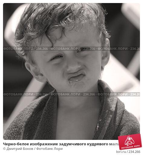Купить «Черно-белое изображение задумчивого кудрявого мальчика», фото № 234266, снято 14 июня 2007 г. (c) Дмитрий Боков / Фотобанк Лори