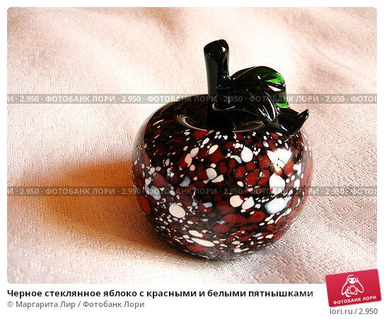 Черное стеклянное яблоко с красными и белыми пятнышками, фото № 2950, снято 1 мая 2006 г. (c) Маргарита Лир / Фотобанк Лори