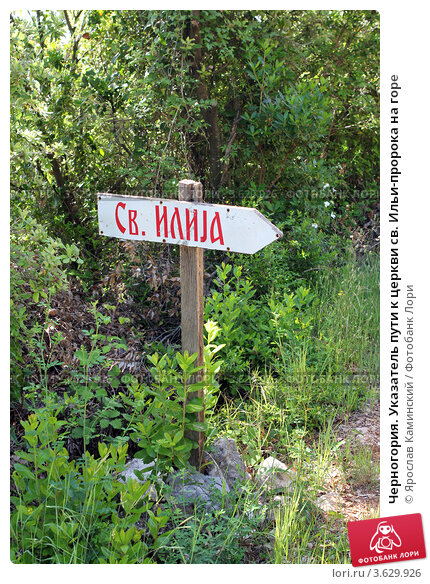 Купить «Черногория. Указатель пути к церкви св. Ильи-пророка на горе», фото № 3629926, снято 9 июня 2012 г. (c) Ярослав Каминский / Фотобанк Лори