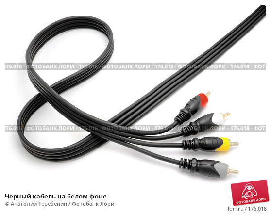 Черный кабель на белом фоне, фото № 176018, снято 12 января 2008 г. (c) Анатолий Теребенин / Фотобанк Лори