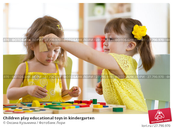 Купить «Children play educational toys in kindergarten», фото № 27790970, снято 22 февраля 2018 г. (c) Оксана Кузьмина / Фотобанк Лори