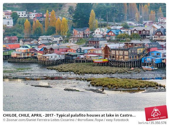 CHILOE, CHILE, APRIL - 2017 - Typical palafito houses at lake in Castro... Стоковое фото, фотограф Zoonar.com/Daniel Ferreira-Leites Ciccarino / easy Fotostock / Фотобанк Лори