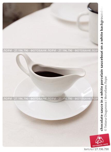 Купить «chocolate sauce in a white porcelain sauceboat on a white background-tablecloth», фото № 27196790, снято 28 августа 2017 г. (c) Tetiana Chugunova / Фотобанк Лори