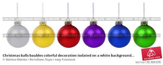 Christmas balls baubles colorful decoration isolated on a white background... Стоковое фото, фотограф Markus Mainka / easy Fotostock / Фотобанк Лори