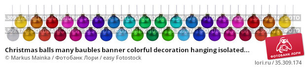 Christmas balls many baubles banner colorful decoration hanging isolated... Стоковое фото, фотограф Markus Mainka / easy Fotostock / Фотобанк Лори