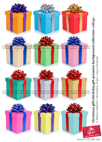 Christmas gifts birthday gift presents background collection collage... Стоковое фото, фотограф Markus Mainka / easy Fotostock / Фотобанк Лори