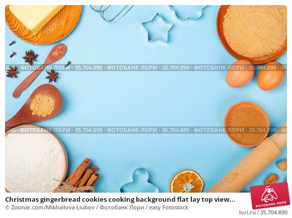Christmas gingerbread cookies cooking background flat lay top view... Стоковое фото, фотограф Zoonar.com/Mikhailova Liubov / easy Fotostock / Фотобанк Лори