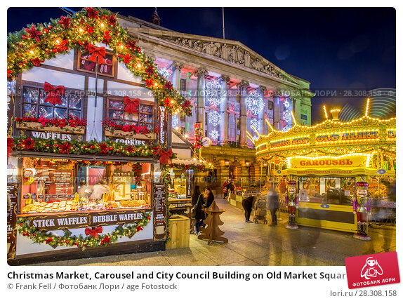 Купить «Christmas Market, Carousel and City Council Building on Old Market Square at dusk, Nottingham, Nottinghamshire, England, United Kingdom, Europe», фото № 28308158, снято 24 ноября 2017 г. (c) age Fotostock / Фотобанк Лори