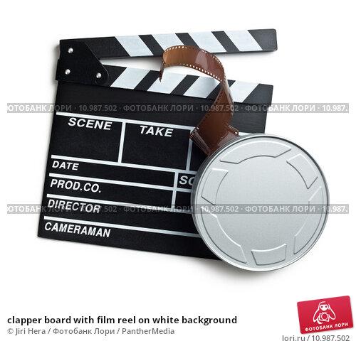 Купить «clapper board with film reel on white background», фото № 10987502, снято 30 марта 2019 г. (c) PantherMedia / Фотобанк Лори