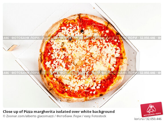 Close up of Pizza margherita isolated over white background. Стоковое фото, фотограф Zoonar.com/alberto giacomazzi / easy Fotostock / Фотобанк Лори