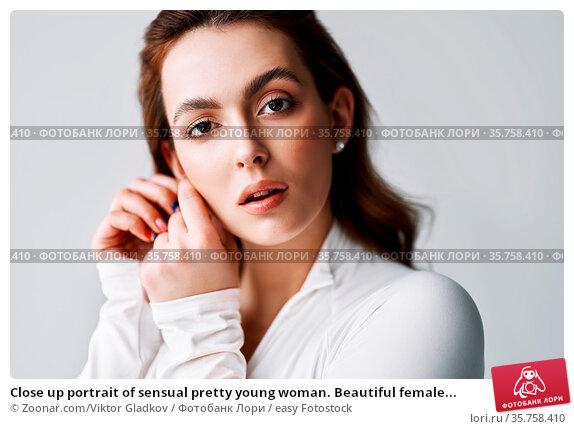 Close up portrait of sensual pretty young woman. Beautiful female... Стоковое фото, фотограф Zoonar.com/Viktor Gladkov / easy Fotostock / Фотобанк Лори