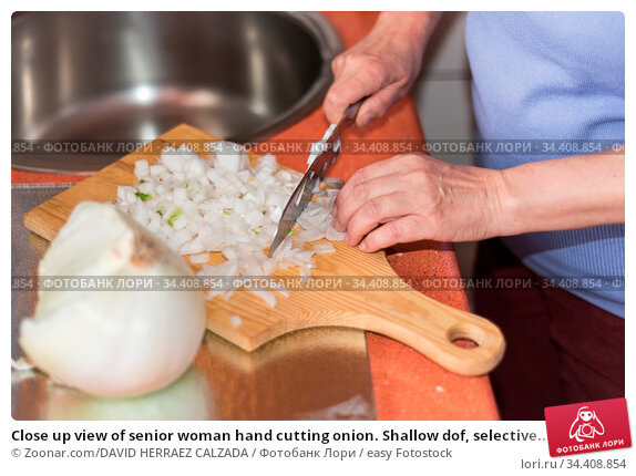 Close up view of senior woman hand cutting onion. Shallow dof, selective... Стоковое фото, фотограф Zoonar.com/DAVID HERRAEZ CALZADA / easy Fotostock / Фотобанк Лори