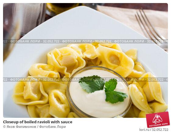 Closeup of boiled ravioli with sauce. Стоковое фото, фотограф Яков Филимонов / Фотобанк Лори
