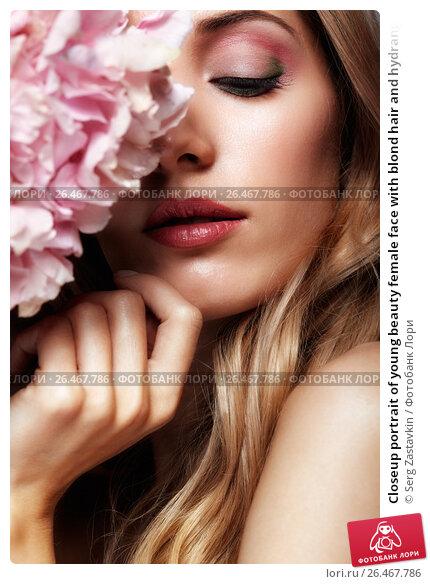Купить «Closeup portrait of young beauty female face with blond hair and hydrangea bouquet flowers», фото № 26467786, снято 4 июня 2017 г. (c) Serg Zastavkin / Фотобанк Лори