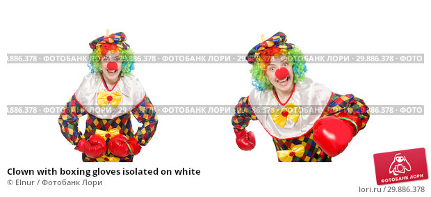 Купить «Clown with boxing gloves isolated on white», фото № 29886378, снято 13 мая 2015 г. (c) Elnur / Фотобанк Лори