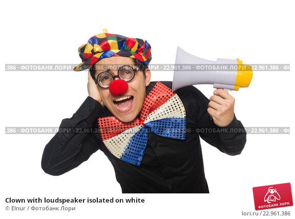 Купить «Clown with loudspeaker isolated on white», фото № 22961386, снято 22 января 2015 г. (c) Elnur / Фотобанк Лори