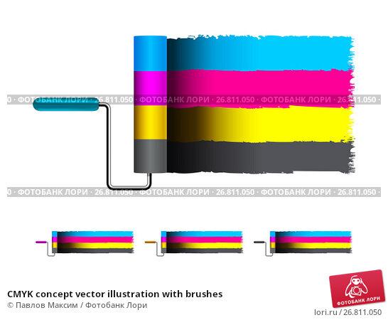 Купить «CMYK concept vector illustration with brushes», иллюстрация № 26811050 (c) Павлов Максим / Фотобанк Лори