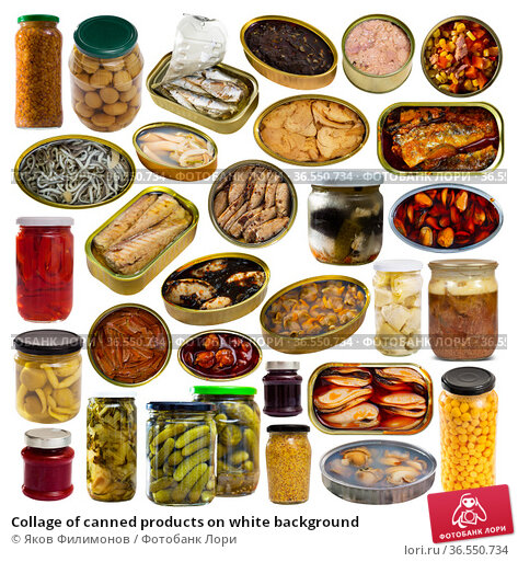 Collage of canned products on white background. Стоковое фото, фотограф Яков Филимонов / Фотобанк Лори