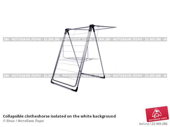 Купить «Collapsible clotheshorse isolated on the white background», фото № 23369286, снято 1 июня 2016 г. (c) Elnur / Фотобанк Лори
