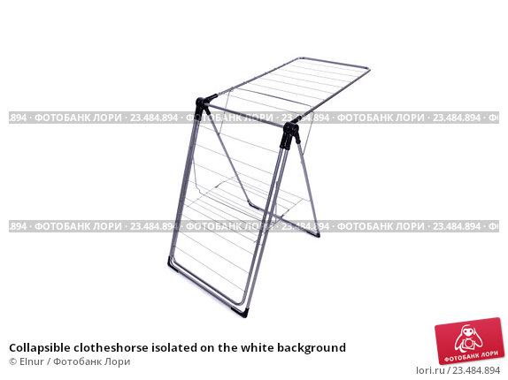 Купить «Collapsible clotheshorse isolated on the white background», фото № 23484894, снято 1 июня 2016 г. (c) Elnur / Фотобанк Лори