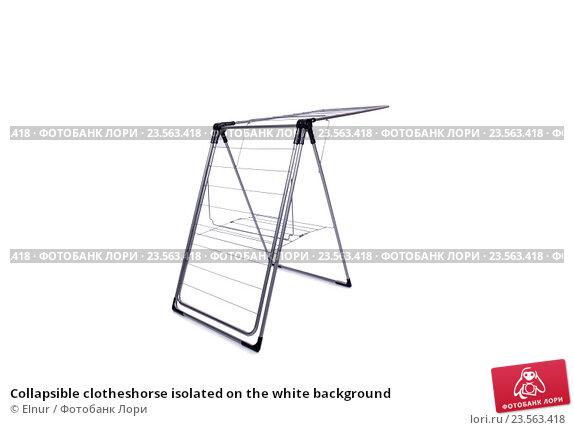 Купить «Collapsible clotheshorse isolated on the white background», фото № 23563418, снято 1 июня 2016 г. (c) Elnur / Фотобанк Лори